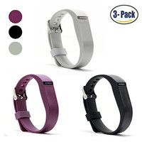 Hotodeal Replacement Bands for Fitbit Flex, Fashion Adjustable Silicone Sport Wristband with Chrome Clasp and Fastener Buckle, Prevent Tracker Falling Off, Comfortable, Pack of 3 (Black+Grey+Purple)