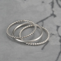 Super Skinny Textured Silver Stack Rings--Set of 3--Round, Twist and Beaded--Silver Stacking Bands
