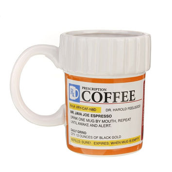Prescription Mug Pill Bottle Coffee Cup Pharmacy 12 oz. Rx - Big Mouth Toys NEW (Color: Orange) = 1946732996