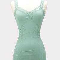 Corset Cami with Lace in Celadon Green