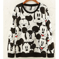 Black and White Mickey Cartoon Print Sweater