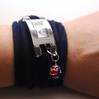 NAVY Blue Wrap WATCH Bracelet with Crystal Bead in USA Colors Stretch Wrist Watch Fashion accessory Women Teens Wrist Tattoo Cover