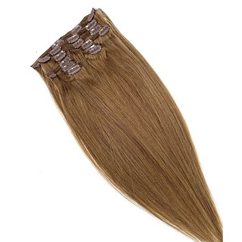 """100% Remy Human Hair Clip Extensions/ Silky Straight - 18"""""""