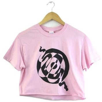 Snake Spiral Pink Graphic Cropped Unisex Tee