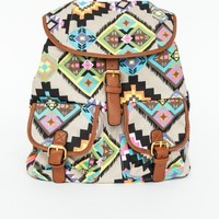 Missguided - Abelia Aztec Backpack With Faux Leather Trim