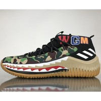 BAPE x adidas Dame 4 fashion trendy sneakers F Camouflage green