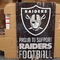 "OAKLAND RAIDERS PROUD TO SUPPORT RAIDERS FOOTBALL WOOD SIGN 11""X17'' WINCRAFT"