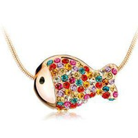 Colorful Rhinestone Fish Necklace Clavicle Chain from LOOBACK FASHION STORE