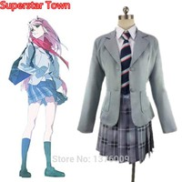 DARLING in the FRANXX Cosplay Suit Code 002 Zero Two Halloween Party Stage Costume Japan Anime High School Uniform 5pcs set