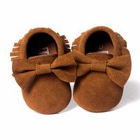 Hot Sale!!!! PU leather Solid tassel Frosted Baby Shoes, Butterfly-knot Newborns Moccasins toddler infant Girl Boy First Walker