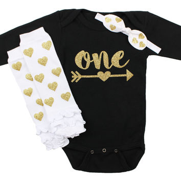Baby Girl First Birthday Outfit, Black, White & Gold 1st birthday Onesuit with Arrow   Gold Hearts Leg Warmers, Knotted Headband