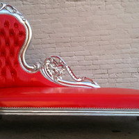 Shiny Red Vinyl & Silver Leaf Wooded Frame by VENETIANSOCIETY