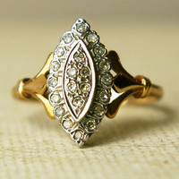 Vintage 9k Gold Diamond Ring Diamond Wedding Ring by luxedeluxe