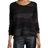 Long-Sleeve Camouflage Sweater, Black, Size: