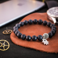 8mm - Matte black onyx beaded stretchy bracelet with silver micro pave Hamsa hand charm & ball, made to order gemstone bracelet