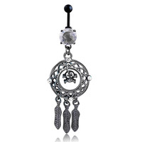 New Charming Dangle Crystal Navel Belly Ring Bling Barbell Button Ring Piercing Body Jewelry = 4661792260