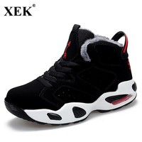 XEK 2018 Unisex Athletic Winter Sneakers With Fur Warm Sports Shoes Outdoor Breathable Walking Shoes For Men Women Sneakers JH52