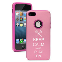 Light Pink Apple iPhone 5 Aluminum & Silicone hard case cover 5D210 Keep Calm and Play On Lacrosse