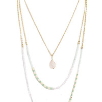 Nature Stone Layered Necklace in Light Pink