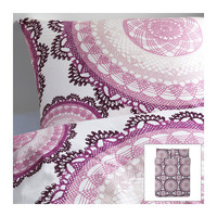 LYCKOAX Duvet cover and pillowcase(s) - white/lilac - Full/Queen (Double/Queen) - IKEA