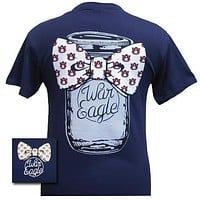 Auburn Tigers War Eagle Mason Jar Bow Bright T Shirt