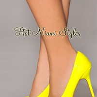 Neon Yellow Patent Leather Pointed Toe High Heel Pumps