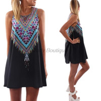 2015 Summer Women's O-Neck Sleeveless Dresses Casual and Simple Sexy Strapless loose Mini Dress Bohemian Beach Vestidos LQ8738C = 1928712260