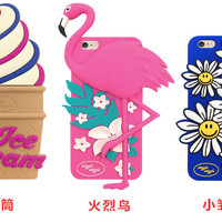 "3D Cute Flamingos Daisy Ice Cream Soft Silicone Case for iPhone 5 5s SE 6 6s plus 4.7/5.5"" Rubber Fundas Back Cover Phone Cases"
