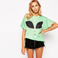 Light Green Alien Funny Face Print T-Shirt