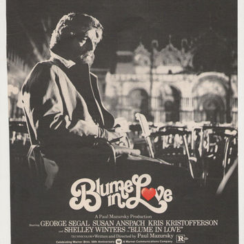 1973 Blume in Love Movie Poster Advertisement George Segal Susan Anspach Kris Kristofferson Shelley Winters Celebrity 70s Wall Art Decor