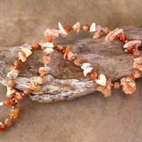 Raw Mexican Fire Opal Chips Necklace Rustic Peach and White Shards with Matte Sunstone and Gold Pyrite Gemstone Jewelry