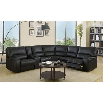 Leather Sectional - 246'' X 40'' X 41'' Modern Black Leather Sectional