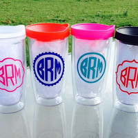 Personalized Monogram Insulated Acrylic Tumbler with Lid Bridesmaid, Party, Gift idea