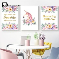 Watercolor Flowers Unicorn Wall Art Canvas Posters Nordic Nursery Prints Painting Wall Picture for Living Room Modern Home Decor