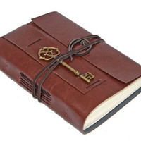 Light Brown Faux Leather Journal with Key Charm Bookmark