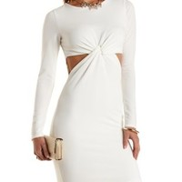 Twisted Cut-Out Bodycon Dress by Charlotte Russe - Ivory