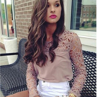 Women's Fashion Hot Sale Lace Slim Round-neck Long Sleeve T-shirts [9067304772]