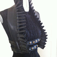 Upcycled Bicycle Inner Tube Ruffle Vest Halter Top Eco Friendly Goth Fetish Post Apocalyptic Steampunk Harness Underbust Vamp Costume