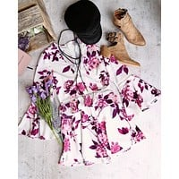 Final Sale - Floral Romper with Bell Sleeves - white/purple