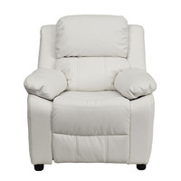 Contemporary White Vinyl Kids Recliner with Storage Arms and Headrest