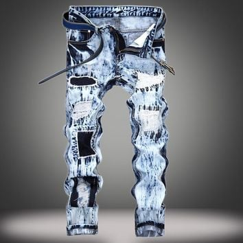 Ripped Holes Patchwork Slim Jeans [10366811139]