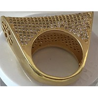 18k Gold Plated Tiny Crystal Large Detail Ring