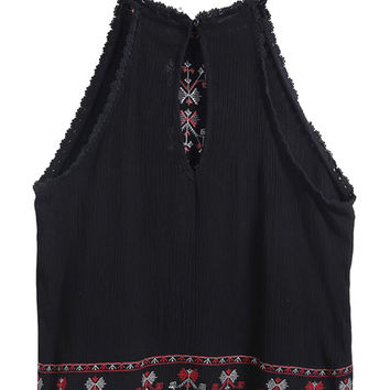 Black Lace Trims Embroidered Cut Away Cut Out Loose Crop Top