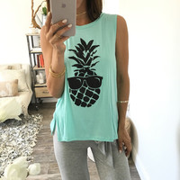 Hot Sale Print Sleeveless Split Ladies T-shirts [6420303044]