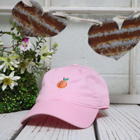 PEACH Baseball Hat Low Profile Embroidered Baseball Caps Dad Hats Light Pink