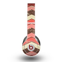 The Scratched Coral & Brown Layered Chevron V4 Skin for the Beats by Dre Original Solo-Solo HD Headphones