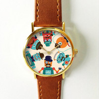 Hipster Robot Watch  , Leather Watch, Women Watches, Boyfriend Watch, Men's Watch, Vintage Style Watch, Silver Gold Rose,