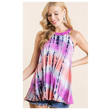 CLOSEOUT! Positive Vibes-Fuchsia  Tie Dye Halter Top