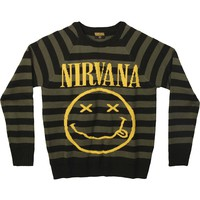 Nirvana Men's  Striped Smiley Sweater Sweatshirt Black/Olive