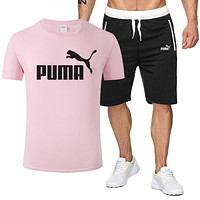 PUMA Hot Sale Men Casual Print Short Sleeve T-Shirt Top Shorts Sport Set Two-Piece Pink